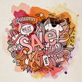 Sale Watercolor Cartoon Hand Lettering And Doodles Stock Photo - 43166730