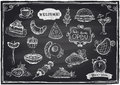 Hand Drawn Assorted Food And Drinks Graphic. Royalty Free Stock Image - 43172456