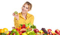 Young Healthy Woman With Fruits And Vegetables. Royalty Free Stock Image - 43175346