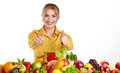 Young Healthy Woman With Fruits And Vegetables. Stock Image - 43175531