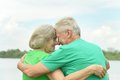 Senior Couple Near The River Stock Images - 43184334
