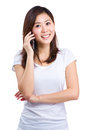 Asian Woman Talk To Mobile Phone Stock Image - 43189161