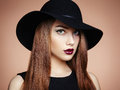 Fashion Photo Of Young Magnificent Woman In Hat. Girl Posing Stock Photos - 43190713