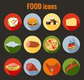 Set Of Food Icons On Colorful Round Buttons Royalty Free Stock Photos - 43191818