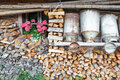 Decorative Old Milk Cans Of A Mountain Hut Royalty Free Stock Image - 43201876