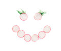 Face From Red Radish Slices. Royalty Free Stock Image - 43206376