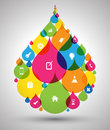 Drop Colour With Icons Stock Images - 43220614