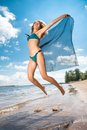 Jumping Happy Girl On The Beach, Fit Sporty Healthy Sexy Body In Bikini Stock Images - 43226014