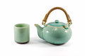 Chinese Green Teapot And Teacup Isolated Stock Image - 43242461