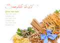 Italian Pasta With Basil And Parsley On A White Background Royalty Free Stock Image - 43248926