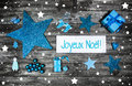 Merry Christmas Card Or Voucher. Xmas Decoration In Blue, White Stock Photography - 43253212