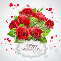 Card For Valentine S Day Heart Of Red Roses Stock Image - 43259831