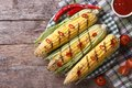 Grilled Corn With Chili And Tomato Sauce Top View Royalty Free Stock Photos - 43264248