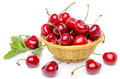 Fresh Red Cherries In A Basket Stock Photos - 43276133