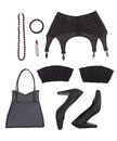 Still Life Of Sexual Woman. Overhead View Of Women S Accessories In Black Tones. Royalty Free Stock Image - 43285956