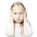 Child Closed His Hands Over His Ears Royalty Free Stock Photography - 43295637
