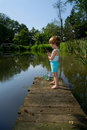Sweet Little Boy Fishing Royalty Free Stock Image - 43295786