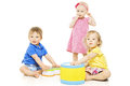 Children Playing Toys. Small Kids Isolated White Background Royalty Free Stock Photo - 43300305
