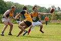 Player Reaches To Catch Ball In Australian Rules Football Game Stock Image - 43303291