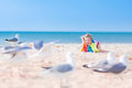 Little Funny Girl Playing With Seagulls Stock Image - 43314031
