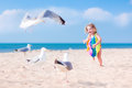 Little Girl Playing With Seagulls Stock Photo - 43314370
