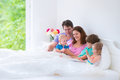 Happy Big Family In A Bed Stock Images - 43315254
