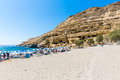 Pebbly Beach Matala, Greece Crete. Matala Has Become Famous For Artificial  Neolithic Caves, Carved In Limestone Rocks. Royalty Free Stock Image - 43321596