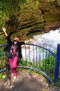 Traveler Thai Women Portrait With Hell S Falls Or Devil Waterfall At Pokhara Stock Image - 43332921