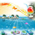 Tropical Sea Theme Background With Cocktail And Text Area Royalty Free Stock Images - 43333499