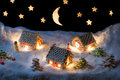 Christmas Eve In The Honey-cacke Village Royalty Free Stock Images - 43335809