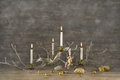 Four Old Burning Advent Candles On Wooden Rustic Christmas Backg Stock Photography - 43344692