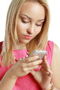 Blonde Using Mobile Royalty Free Stock Photo - 43345295