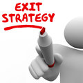 Exit Strategy Man Writing Words Marker Pen Planning Stock Images - 43351684