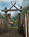 Wooden Gate To A Medieval Village Royalty Free Stock Image - 43356406