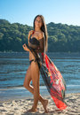 Beautiful Woman In Bikini And With Pareo At The Beach Royalty Free Stock Photo - 43366485
