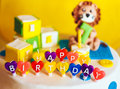 Happy Birthday Written In Candles On Colorful Background Royalty Free Stock Photo - 43369725