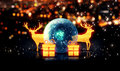Blue Crystal Bauble Gold Christmas Deer Gift 3D Bokeh Background Stock Images - 43382194