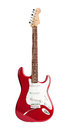 Red Six-stringed Electric Guitar Isolated On White Stock Photo - 43387180