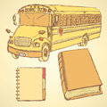 Sketch School Bus, Book And Notebook Stock Images - 43392024
