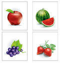 Set Fruit Apple And Watermelon And Grapes And Strawberries Royalty Free Stock Photos - 43400498