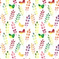 Vector Seamless Watercolor Pattern With Leaves Royalty Free Stock Photos - 43403358