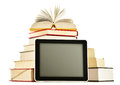 Composition With Books And Tablet Computer On White Royalty Free Stock Image - 43406506