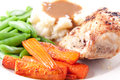 Roasted Chicken Breast, Mashed Potatoes, Gravy And Fresh Veg Stock Photos - 43409103
