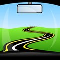 Road, Going Away To Distance Through Glass Car Stock Photography - 43414332