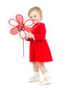 Bright Portrait Of Playing Adorable Baby Girl With Red Toy Royalty Free Stock Photos - 43436368