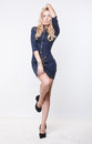 Blonde With Zipped Blue Dress Stock Photos - 43443593