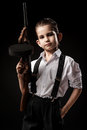 Portrait Of A Boy In An Image Of The Gangster Royalty Free Stock Image - 43443786