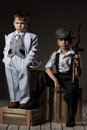 Portrait Of A Boys In An Image Of The Gangsters Royalty Free Stock Images - 43443909