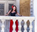 Spanish Woman On The Balcony Stock Images - 43450414