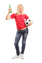 Female Sports Fan Holding Beer And A Football Stock Photography - 43450642